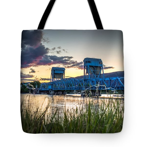 Blue Bridge Through The Grass Tote Bag