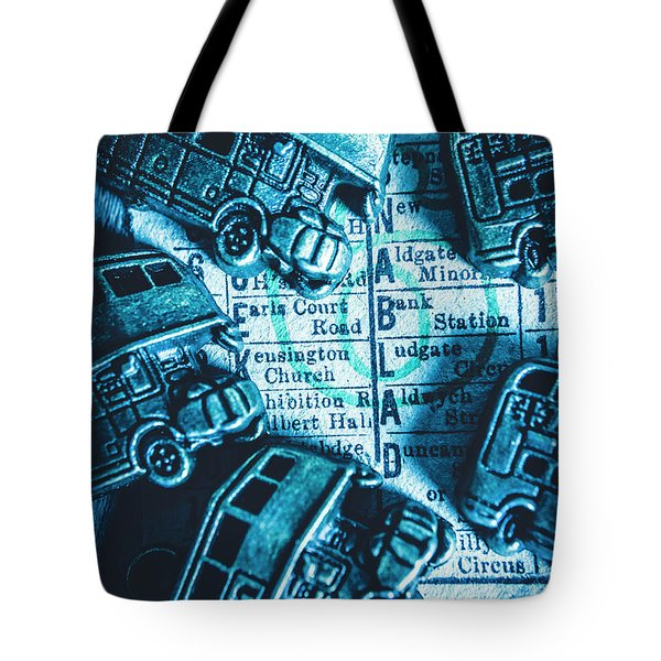 Blue Britain Bus Bill Tote Bag