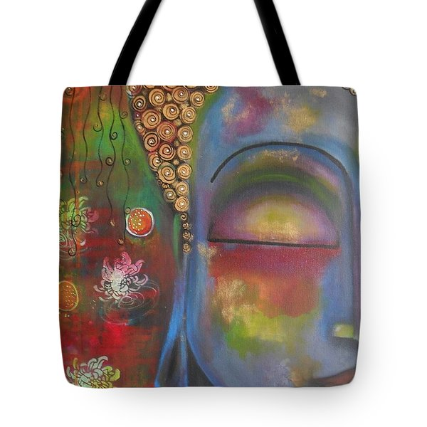 Buddha In Blue Meditating  Tote Bag