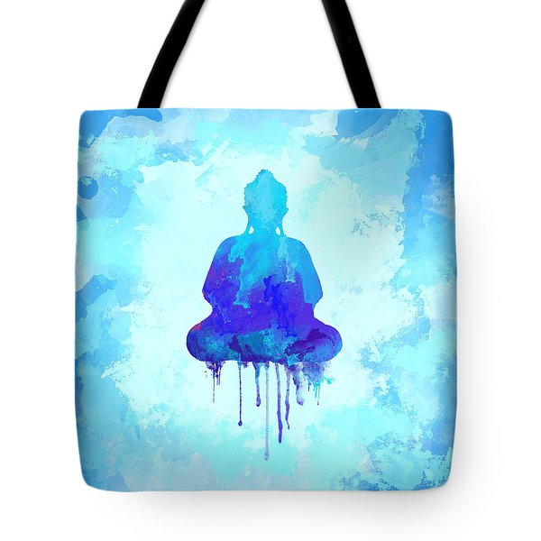 Blue Buddha Watercolor Painting Tote Bag