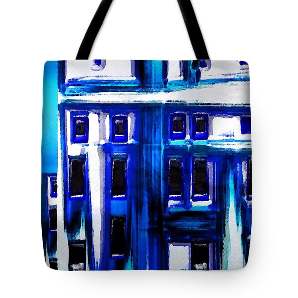 Tote Bag featuring the painting Blue Buildings by Mark Taylor