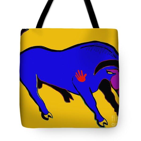 Blue Bull Tote Bag by Hans Magden