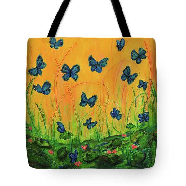 Blue Butterflies In Early Morning Garden Tote Bag