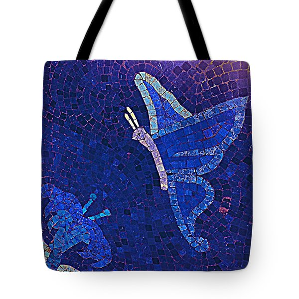 Blue Butterfly And Flower Tote Bag