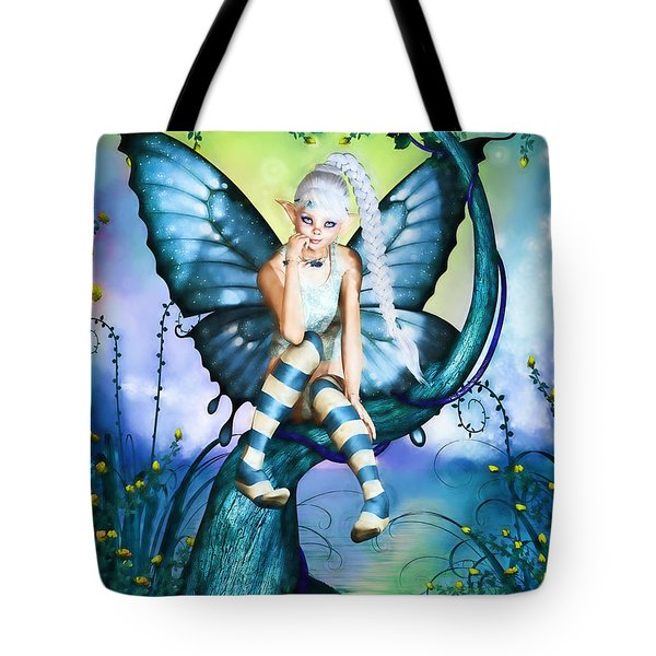 Blue Butterfly Fairy In A Tree Tote Bag