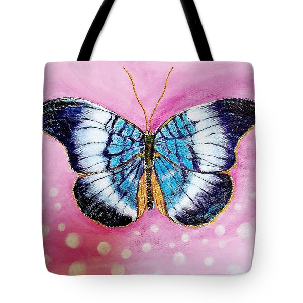 Blue Butterfly Tote Bag by Hye Ja Billie
