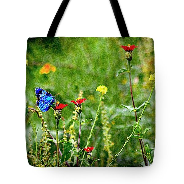 Blue Butterfly In Meadow Tote Bag