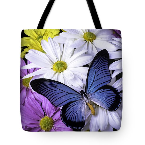 Blue Butterfly On Mixed Mums Tote Bag