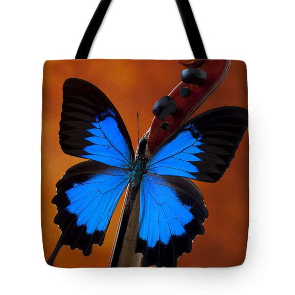 Blue Butterfly On Violin Tote Bag by Garry Gay