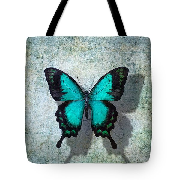 Blue Butterfly Resting Tote Bag