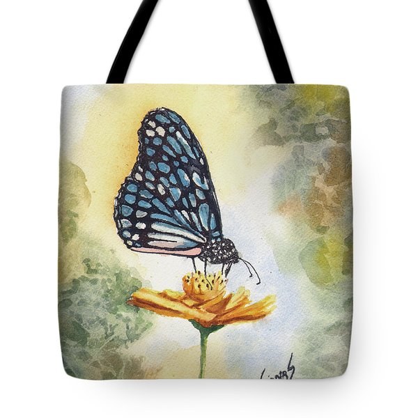 Tote Bag featuring the painting Blue Butterfly by Sam Sidders
