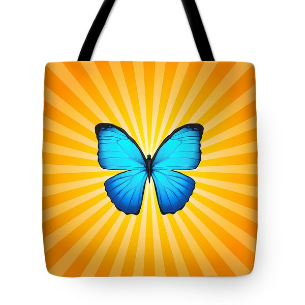 Blue Butterfly Sun Tote Bag by Ginny Gaura