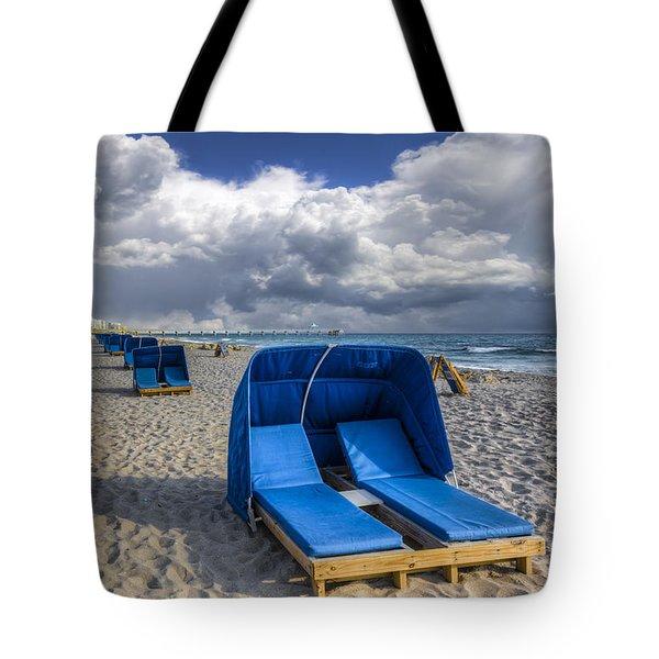 Blue Cabana Tote Bag by Debra and Dave Vanderlaan