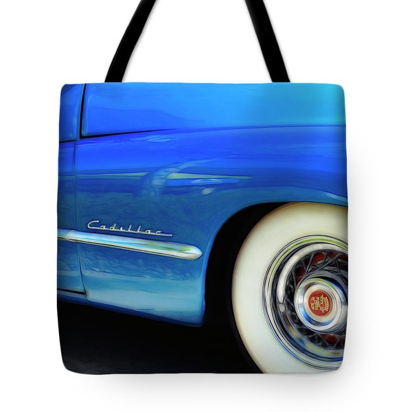 Tote Bag featuring the photograph Blue Cadillac - Classic Car by Ann Powell