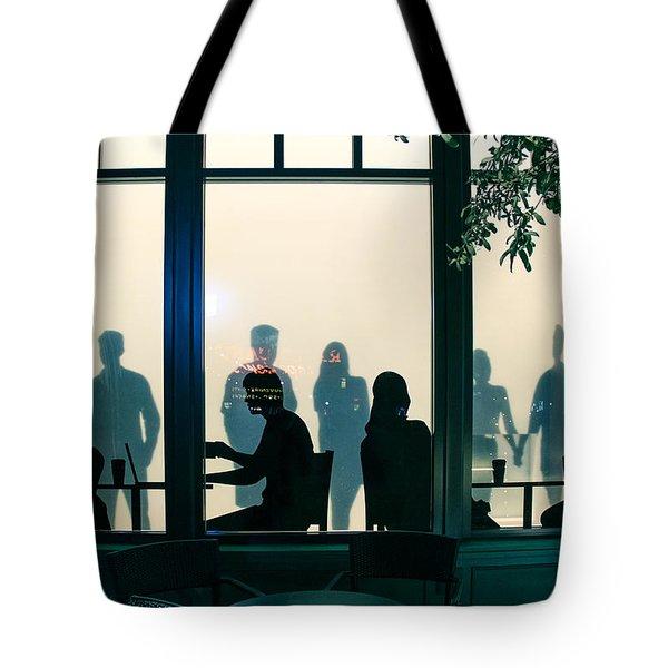 Blue Cafe Tote Bag by Bobby Villapando