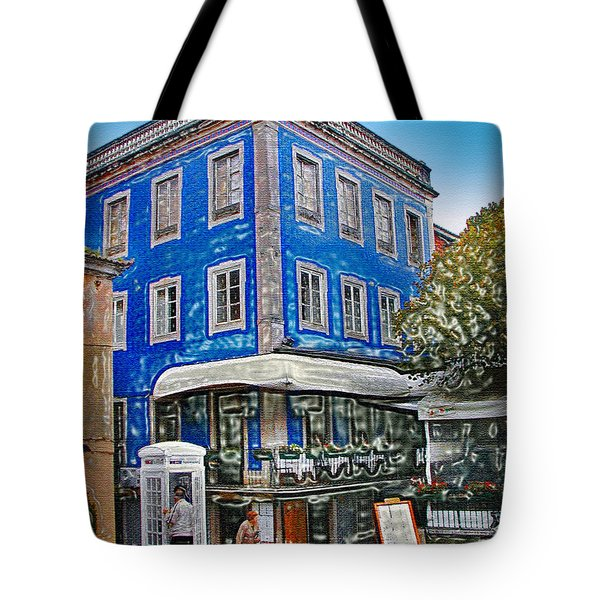 Tote Bag featuring the photograph Blue Cafe On The Corner by Sue Melvin