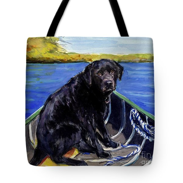 Blue Canoe Tote Bag by Molly Poole