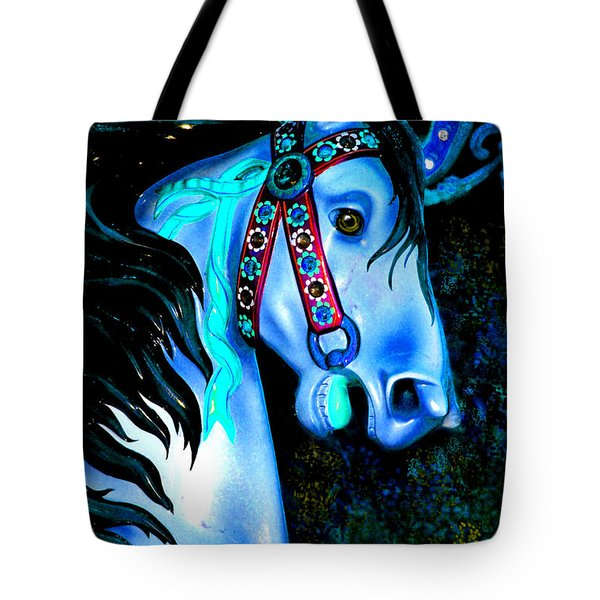 Blue Carousel Horse Tote Bag