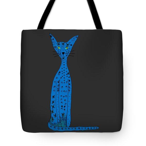 Blue Cat Tote Bag by Barbara Moignard