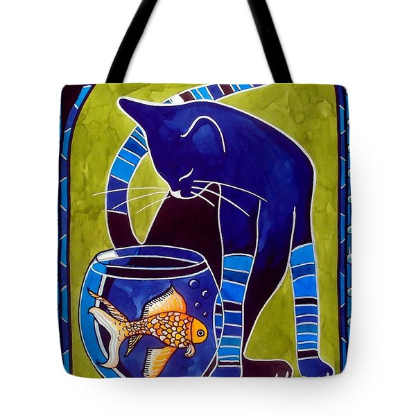 Blue Cat With Goldfish Tote Bag