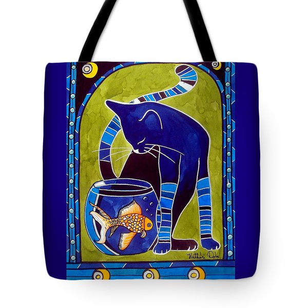 Tote Bag featuring the painting Blue Cat With Goldfish by Dora Hathazi Mendes