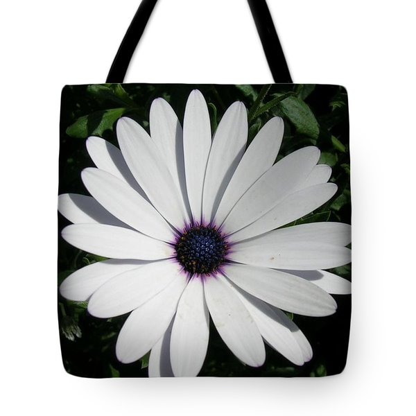 Blue Center Daisy Tote Bag by Valerie Ornstein