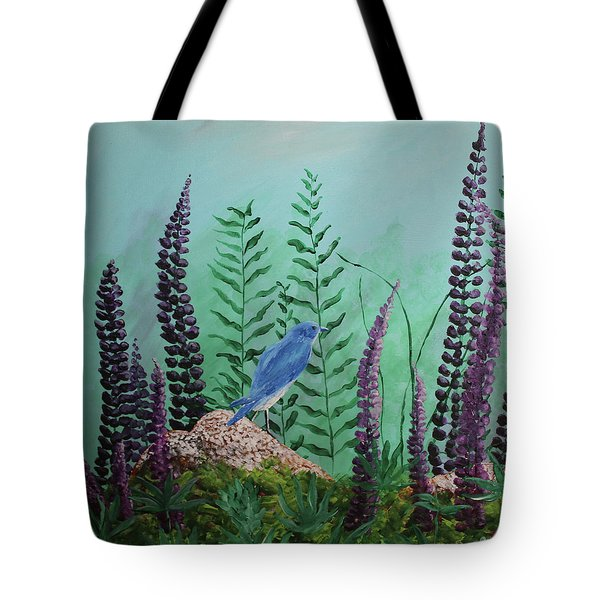 Blue Chickadee Standing On A Rock 1 Tote Bag