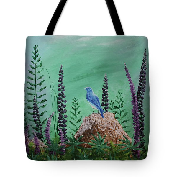 Blue Chickadee Standing On A Rock 2 Tote Bag