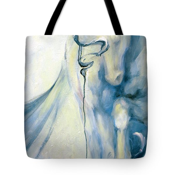 Tote Bag featuring the painting Blue Circus Pony 2 by Dina Dargo