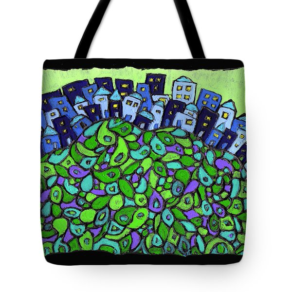 Blue City On A Hill Tote Bag by Wayne Potrafka