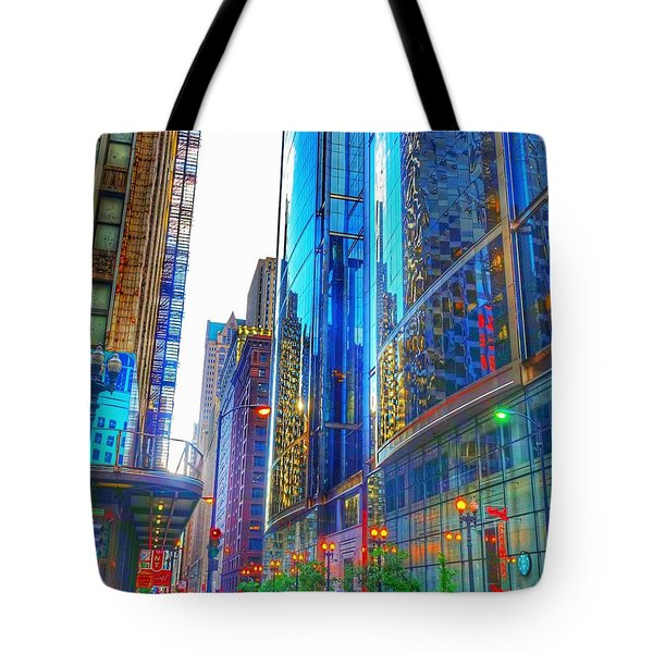 Tote Bag featuring the photograph Blue Cityscape by Marianne Dow