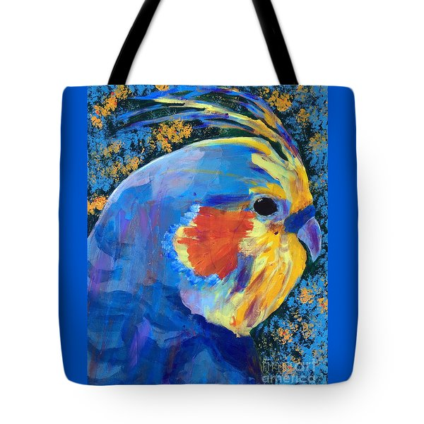 Tote Bag featuring the painting Blue Cockatiel by Donald J Ryker III