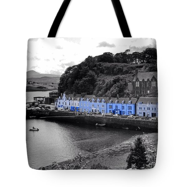 Blue Cottages At Portree Harbour 5 Tote Bag
