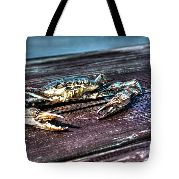 Tote Bag featuring the photograph Blue Crab - Above View by Tommy Patterson