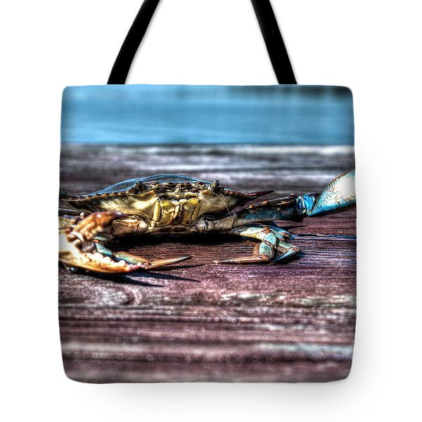 Tote Bag featuring the photograph Blue Crab - Big Claws by Tommy Patterson