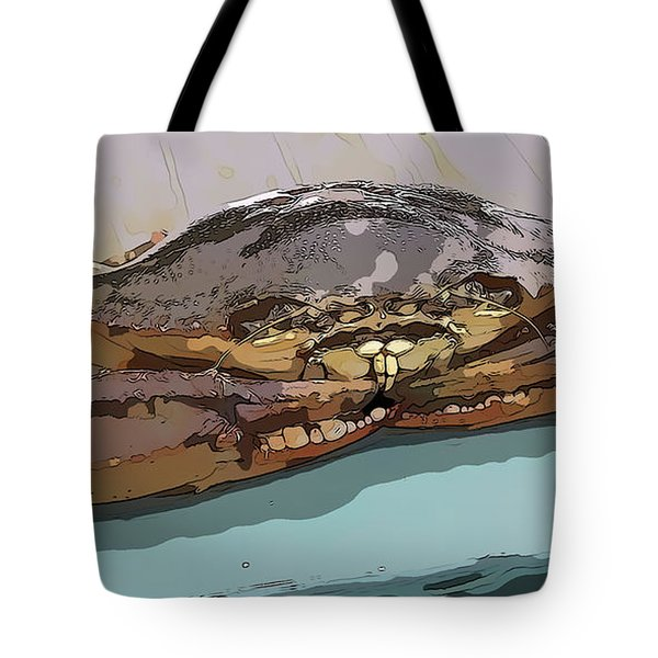 Blue Crab Cartoon Tote Bag