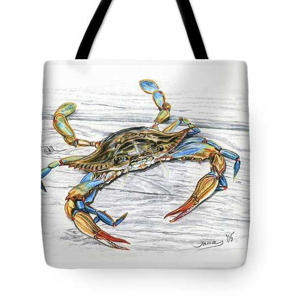 Blue Crab Tote Bag by Jana Goode