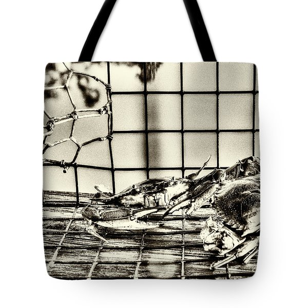 Tote Bag featuring the photograph Blue Crabs - Vintage by Tommy Patterson
