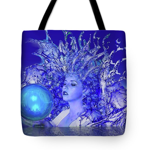 Blue Crystal Tote Bag by Matthew Lacey