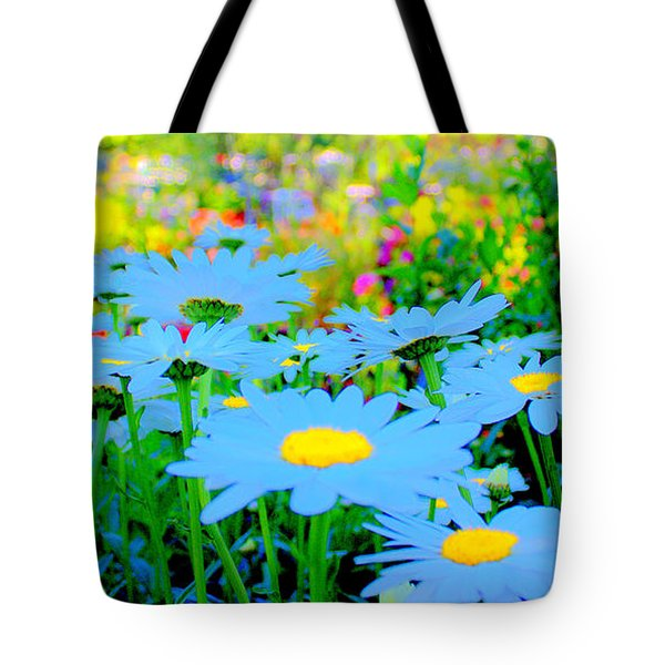 Blue Daisy Tote Bag by Terence Morrissey
