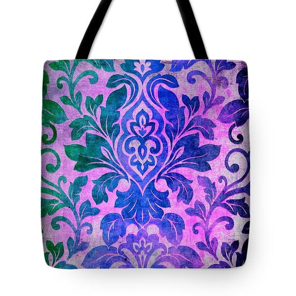 Blue Damask Pattern Tote Bag