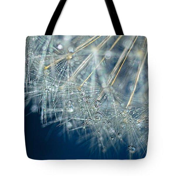 Blue Dandelion Dew By Kaye Menner Tote Bag