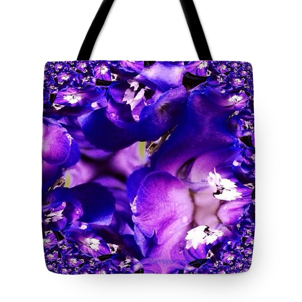Blue Delphinium Abstracted Tote Bag