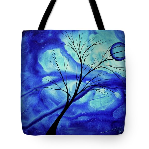 Blue Depth Abstract Original Acrylic Landscape Moon Painting By Megan Duncanson Tote Bag