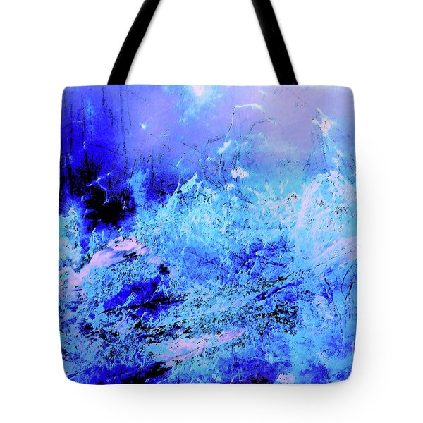 Blue Digital Artwork With Dots And Stripes And Sandstone Finish Tote Bag