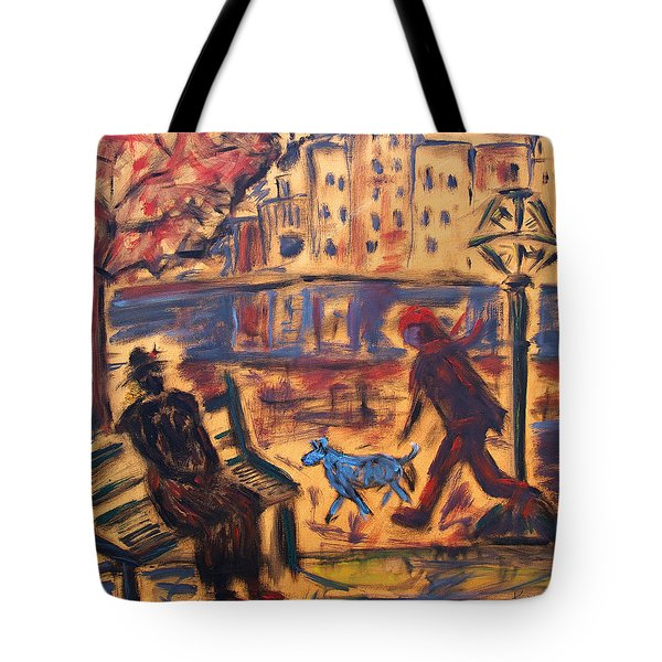 Blue Dog In The City Tote Bag