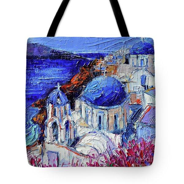 Blue Domed Churches In Oia Santorini - Mini Cityscape 08 - Palette Knife Oil Painting Tote Bag