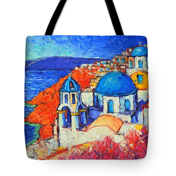 Blue Domes In Oia Santorini Greece Original Impasto Palette Knife Oil Painting By Ana Maria Edulescu Tote Bag