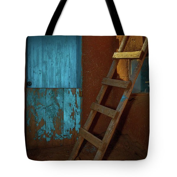 Blue Door And Ladder - Taos Pueblo Tote Bag by Tim Bryan