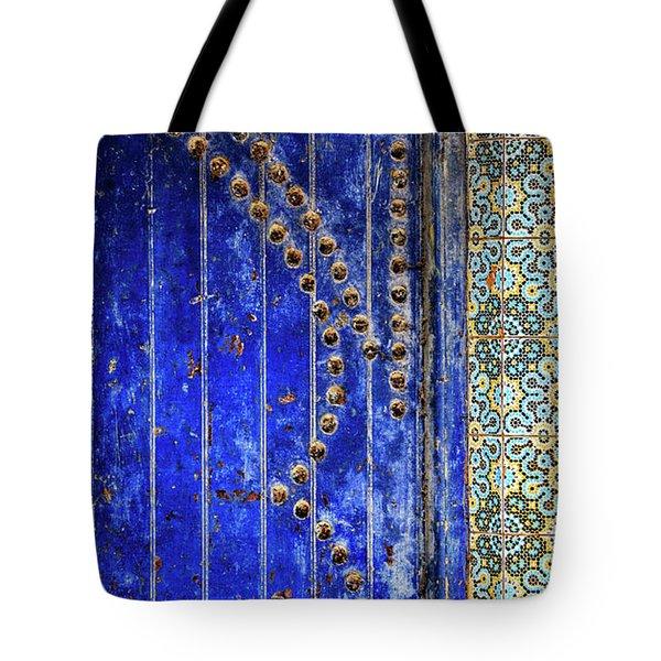 Blue Door In Marrakech Tote Bag by Marion McCristall